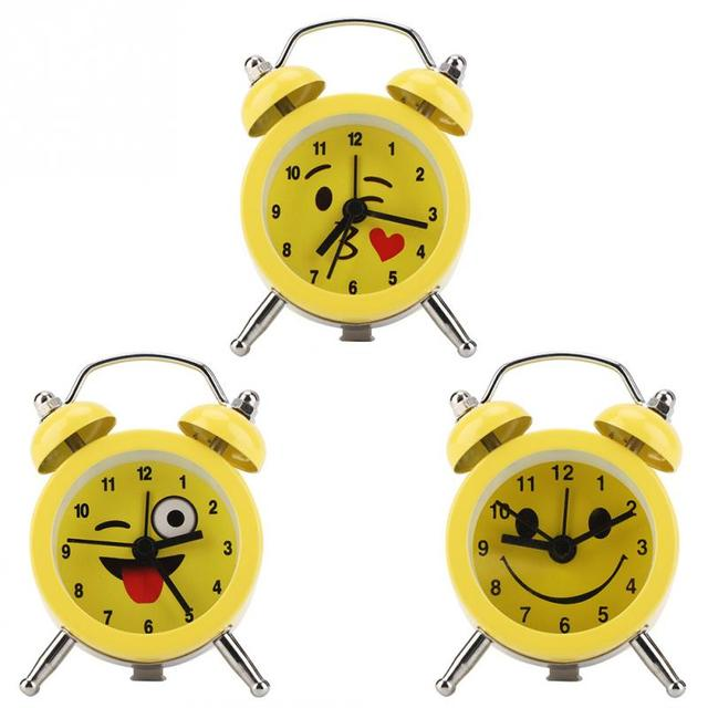 3Inch Portable Mini Metal Digital Alarm Clock with Battery Emoticon Numbers for Student Homeuse