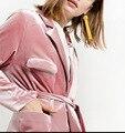 2016 outono e inverno nova moda simples de veludo bolso duplo pequeno terno com cinto casaco longo casaco feminino