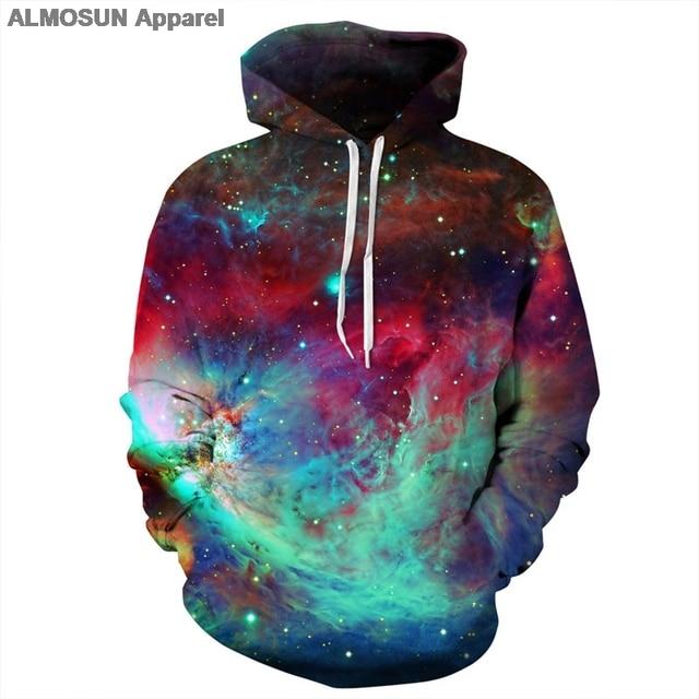 ALMOSUN Colors Galaxy Space 3D All Over Print Hoodie Sweatshirt Jumper Fashion Hoody Streetwear Men Women
