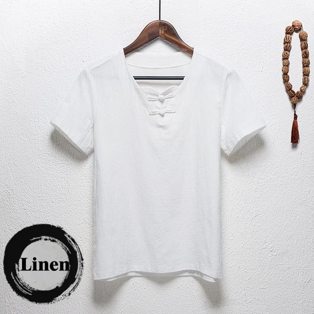Chinese culture summer tshirt homme 98.8% linen cotton short sleeve t-shirt men Button decoration slim V neck slim camiseta 5XL