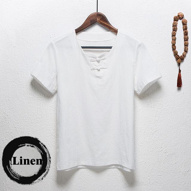 Cultura china camiseta verano homme 98.8% lino de algodón decoración del Botón delgado V cuello delgado de manga corta camiseta hombres camiseta 5XL
