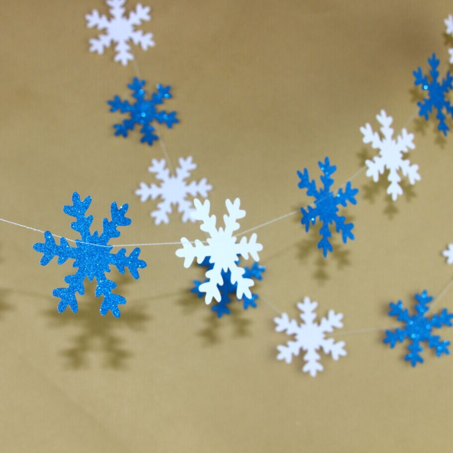 Pieces lot white and glitter blue frozen snowflake