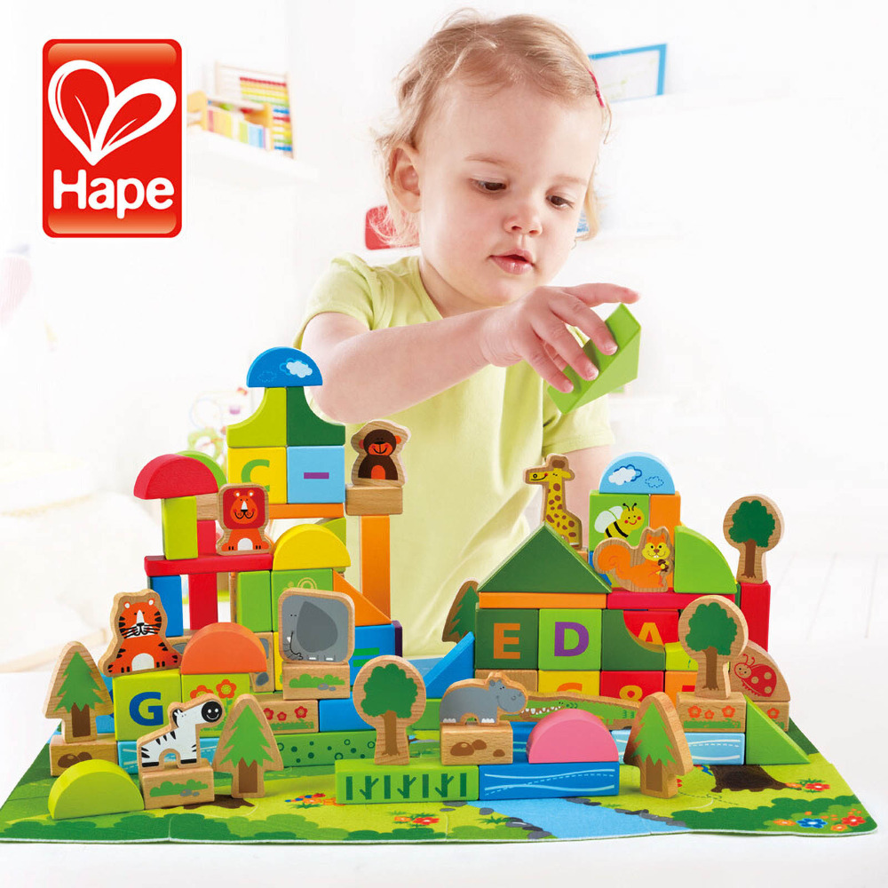 HAPE 100PCS Forest Animals Children Boys & Girls Building Blocks Wood Educational Brain Enlightenment Toys Game forest animals 100pcs blocks girls 1 6 years educational baby toys environmental protection wooden children creature boy toy