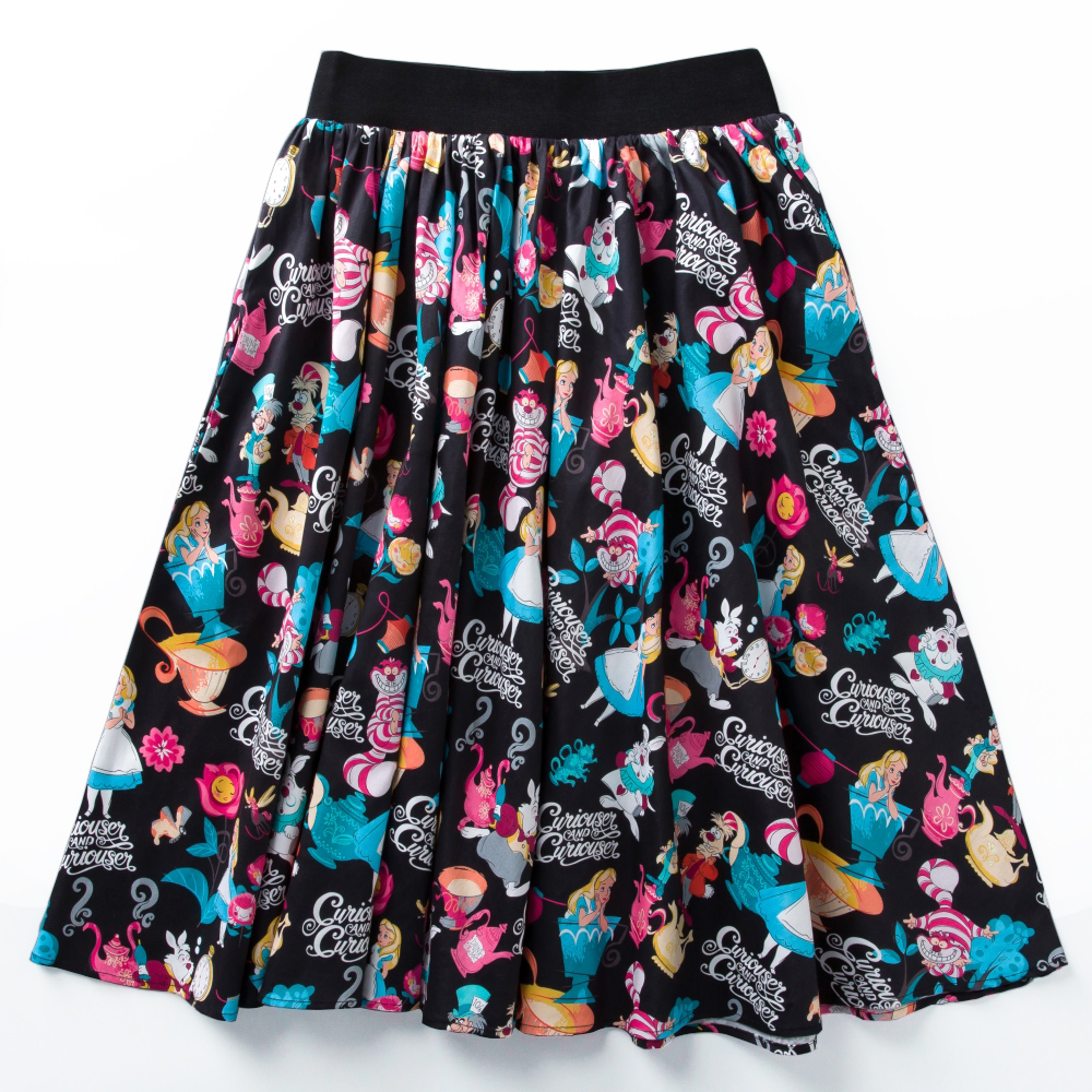 Candow Look New Arrived Fashion Women's High Waist Novetly Alice Printing Retro Inspired Circle Swing One Size Pleated Skirt