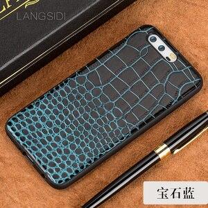 Image 4 - Caixa do telefone Para Huawei P10 wangcangli Mais couro de Bezerro Verdadeiro Back Cover Case/Estojo De Couro textura de crocodilo