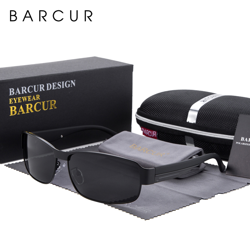 BARCUR Fashion Driving Sun Glasses for Men Polarized sunglasses UV400 Protection Brand Design Eyewear High Quality Oculos