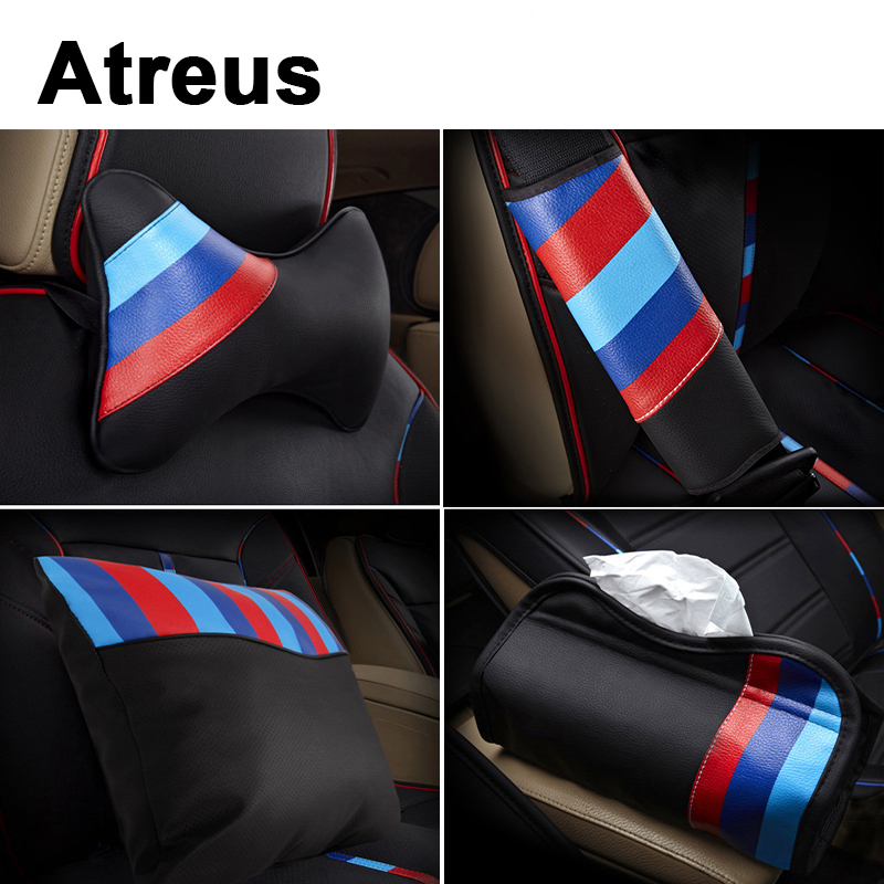 Atreus Car styling Steering Wheel Seat Cover Sticker For BMW E46 E39 E90 E60 F30 F10 E34 X5 E53 E30 F20 M5 X5 X6 M Power 3 Color