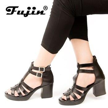 Sandalias de mujer de marca Fujin 2019 zapatos de verano sandalias de cuero genuino tacones altos zapatos de boca de pez sandalias de plataforma impermeables