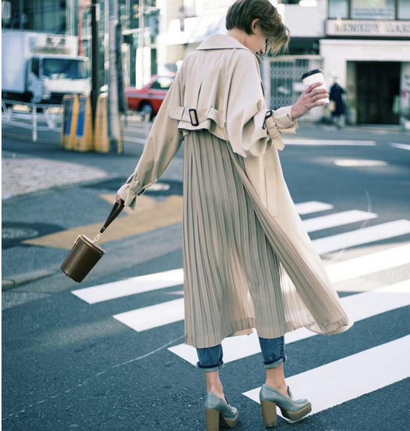 "British style Long Sleeves Autumn pleated coats women""s Long sleeve windbreaker overcoats abrigo mujer 4"