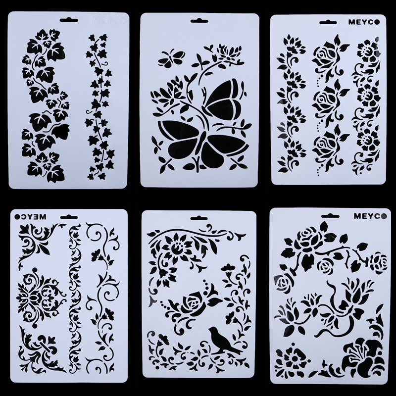 6pcs/set DIY Layering Stencil Template For Walls Painting Stencils Photo Album Scrapbooking Embossing Paper Cards Pochoir Craft