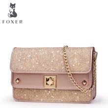FOXER Sieviešu plecu soma Ādas Crossbody maisiņi sieviešu modes Messenger Bag meitenēm Mini ķēdes somas Valentīna diena dāvana