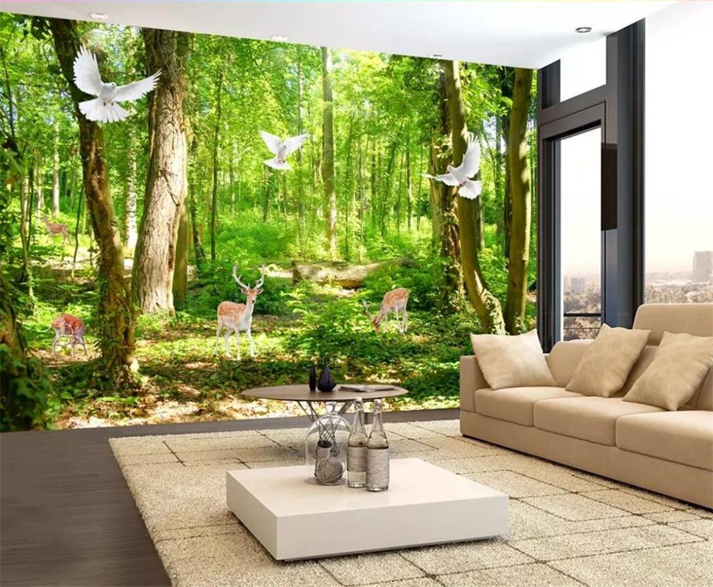 Simple Bodhi Big Leaf Living room TV Background Wallpaper Nordic Style Bar Hotel