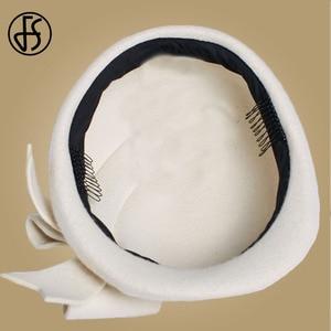 Image 5 - FS أنيقة الصوف قطع زينة فيدورا النساء الأحمر الكنيسة القبعات أبيض أسود الزفاف قبعة للنساء شعر القوس القبعات قبعات صندوق منع الحمل قبعة فاتحة