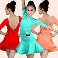 Детское платье для латинских танцев для девочек, детские стандартные платья для латинских танцев, костюмы для танго самбы и чаши с открытой спиной - фото