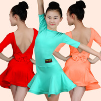 Girl Kids Latin Dance Dress For Ballroom Dancing Kids Standard Latin Competition Dresses Backless Tango Samba Chacha Costumes