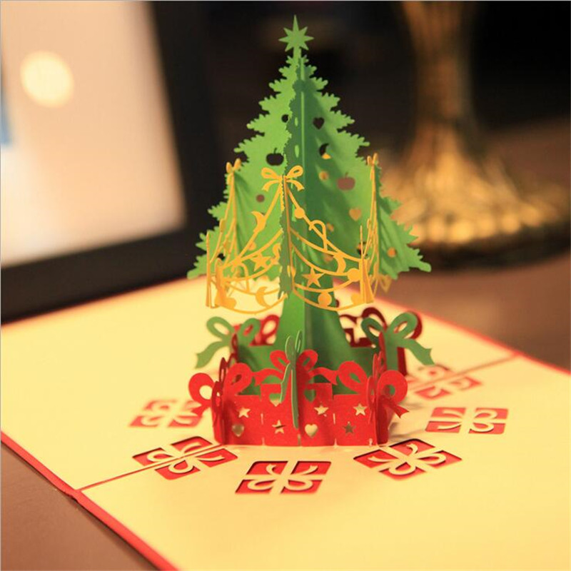 Lovely 3D New Year Event Party Supplies Paper DIY Hand Made Festive Merry Christmas Tree Gift Favors Postcard Greeting Card 30pcs in one postcard take a walk on the go dubai arab emirates christmas postcards greeting birthday message cards 10 2x14 2cm