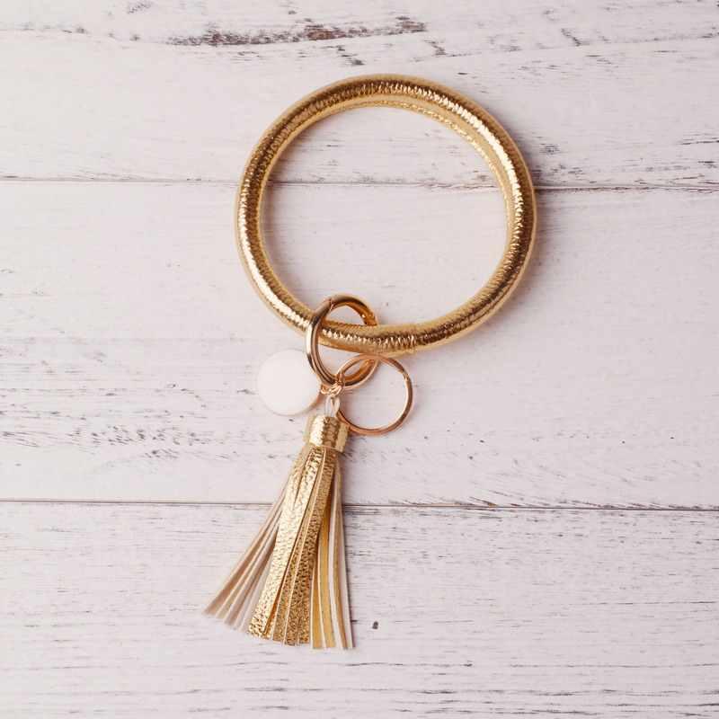 Moda nova moda multiful borla chaveiro esmalte couro do plutônio o chaveiro monograma círculo pulseiras chaveiro para meninas