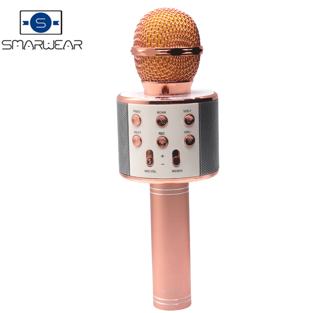 WS858 Karaoke Microfono Senza Fili Portatile di Bluetooth mini casa KTV per la Riproduzione di Musica e Canto Altoparlante Lettore Selfie TELEFONO PC
