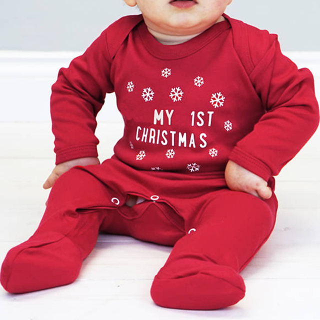 4bc5fb901891 My 1St Christmas Boy Romper Baby Onesie Long Sleeve Red Jumpsuits Pajamas  Toddler Infant Girl Boys Clothes Baby Costumes 0-18 M