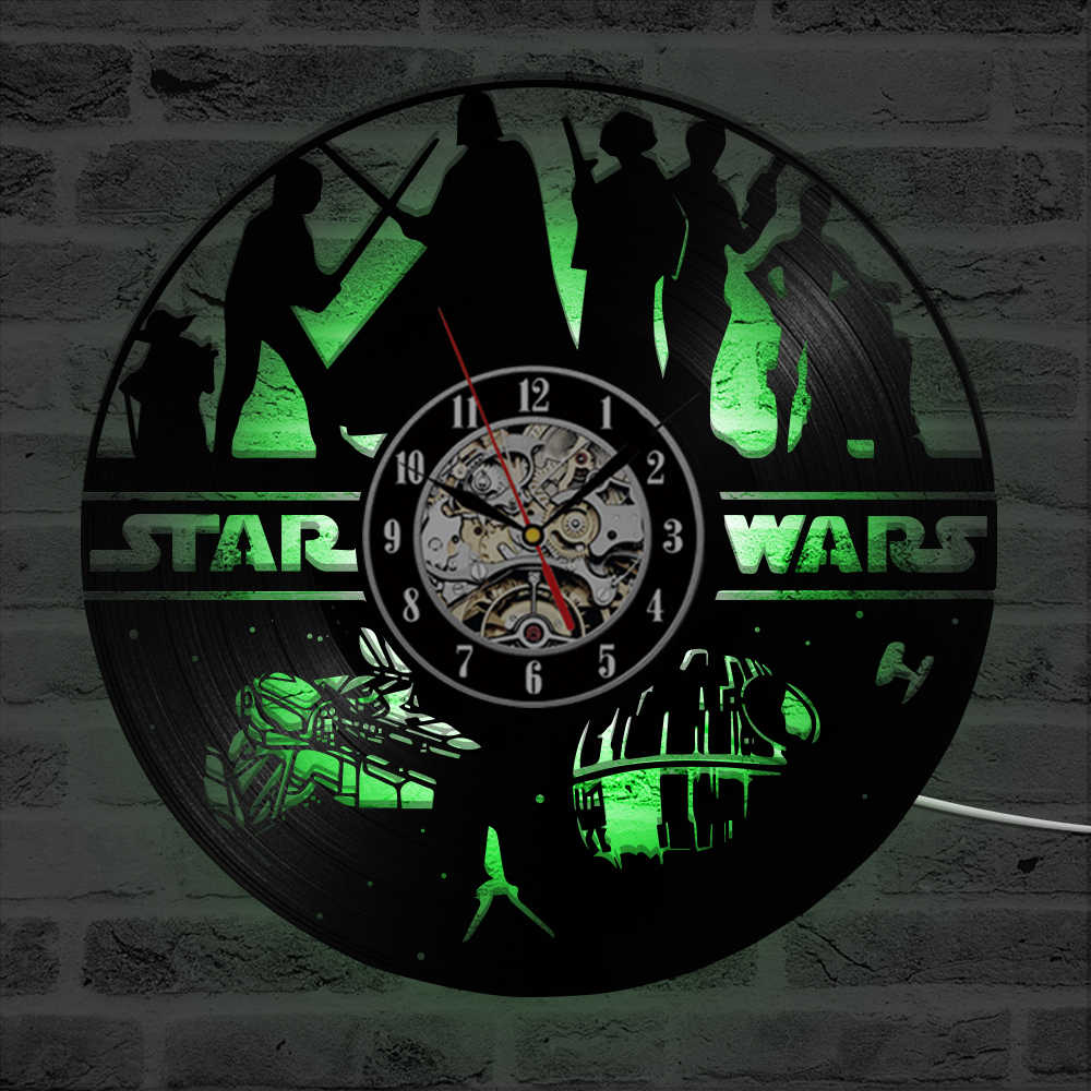 Star Wars Ghi Clock Hollow 3D Phổ Biến Chủ Đề Phim Treo LED Đồng Hồ Treo Tường Vinyl Ghi Creative Vintage Đồng Hồ Treo Tường