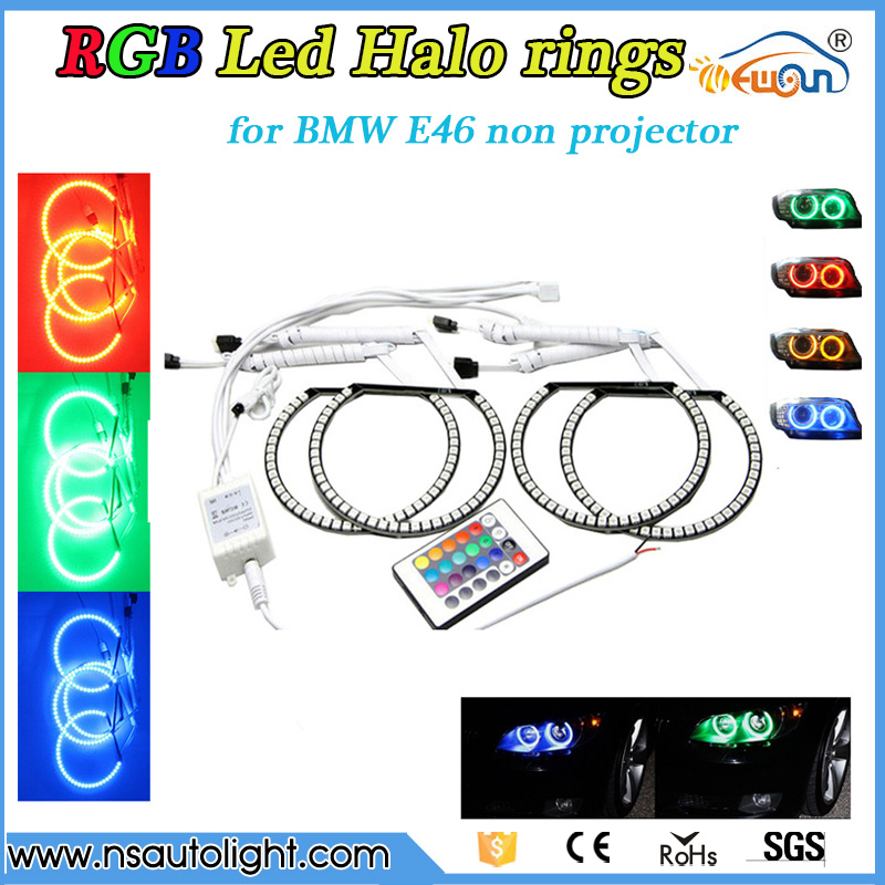 12V Multi-Color RGB Halo Rings led car light 131mm/145mm LED Angelic Eyes RGB Car Angel Eyes for BMW E46 Projector 3 Series 4 90mm rgb led lights wholesale price led halo rings 12v 10000k angel eyes rgb led angel eyes for byd for chery for golf4