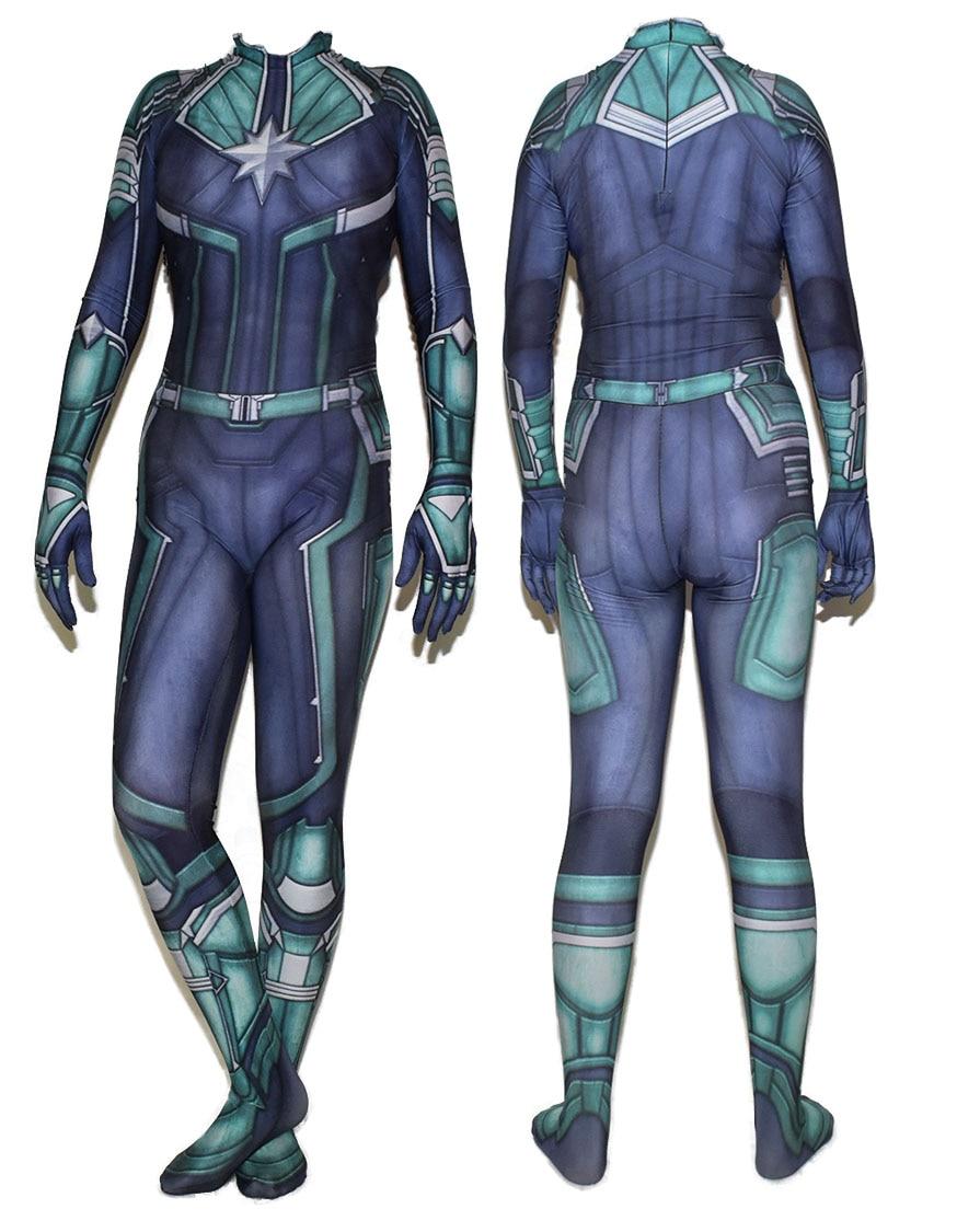 Movie Anime Captain Marvel Kree Superhero Lycra Zentai Bodysuit Halloween Cosplay Party suit free delivery
