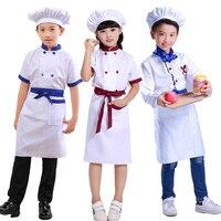 Children Games Chef Uniform Kindergarten Cooking Uniform For Cosplay Party Tops Apron Hat Girl Boy Kitchen