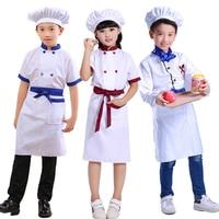 어린이 게임 요리사 유니폼 유치원 요리 유니폼 코스프레 파티 탑 + 앞치마 + 모자 소녀 소년 주방 작업 의상 89
