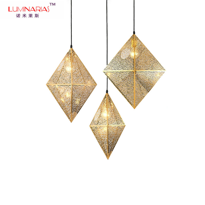Post-modern Hollow Stainless steel Pendant Lamp Diamond Pendant Light Gold Dinning Room Living Room Bed Room Lighting E27 contemporary and contracted fashion creative artistic personality nordic office led eye learning real wood desk lamp of bedroom