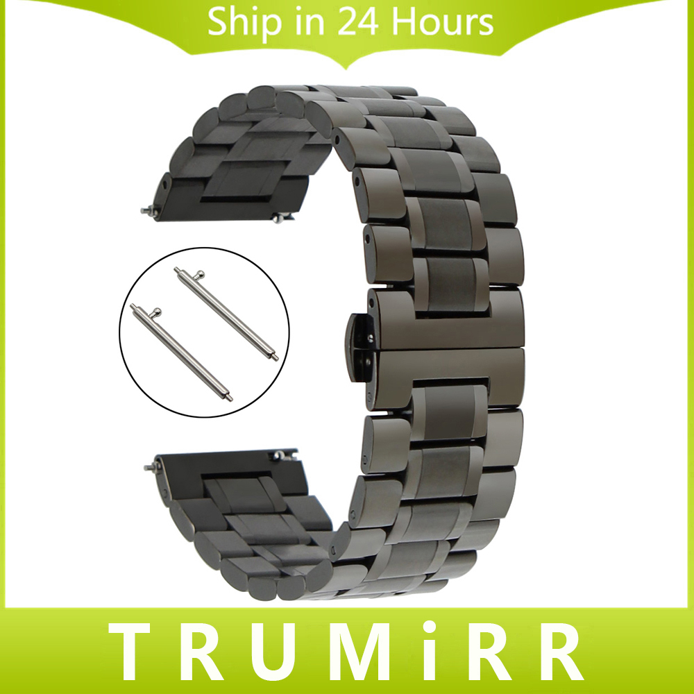 20mm 22mm Stainless Steel Watch Band Quick Release Strap for Ticwatch 1 46mm / Ticwatch 2 42mm Butterfly Buckle Wrist Bracelet nylon watch band 22mm for ticwatch 1 46mm stainless steel pin buckle strap wrist belt bracelet black blue orange spring bar