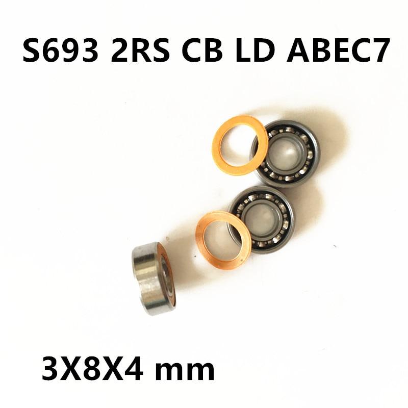 Free Shipping S693 2rs CB LD ABEC7 3X8X4 mm Stainless steel hybrid ceramic ball bearings fishing vessel bearing stainless steel hybrid ceramic ball bearing smr84 2rs cb abec7 4x8x3mm