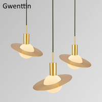 Nordic Gold Saturn Pendant Lights Glass Hanging Lamp Industrial Hanglamp Dining Room Home Deco Cafe Light Suspension Luminaire
