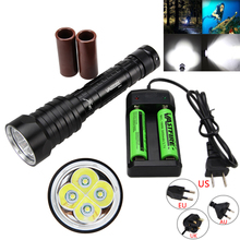 2000 LM 4X T6 LED Scuba Diving Flashlight Torch Underwater 100M Hunting Lamp with 18650 Battery +Charger