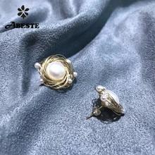 ANI 14K Roll Gold Women Stud Earring Freshwater White Pearl oorbellen boucle d oreille Fashion Design Handmade Jewelry