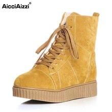 Aicciaizzi размеры 33–42 Для женщин до середины икры ботинки на платформе с перекрестными ремешками с толстой обувь на коротком меху женская зимняя обувь зимние мелочь Botas