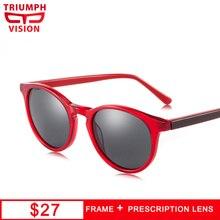 TRIUMPH VISION Retro Round Frame Red Acetate Prescription Glasses Women Sunglasses Myopia Sun UV400 Diopter Eyeglasses