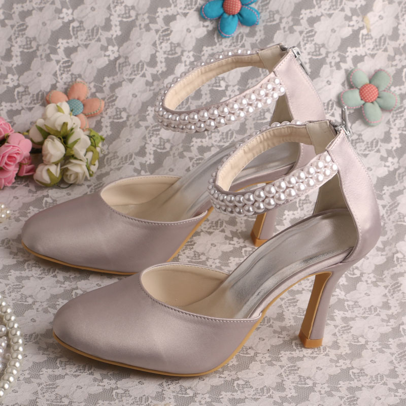 Hot Style Customize Handmade Grey Pearl Bridal Wedding Women Shoes Dropship