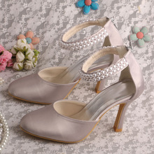 Горячий стиль настройка ручной серый перл свадебное женская обувь прямая поставка