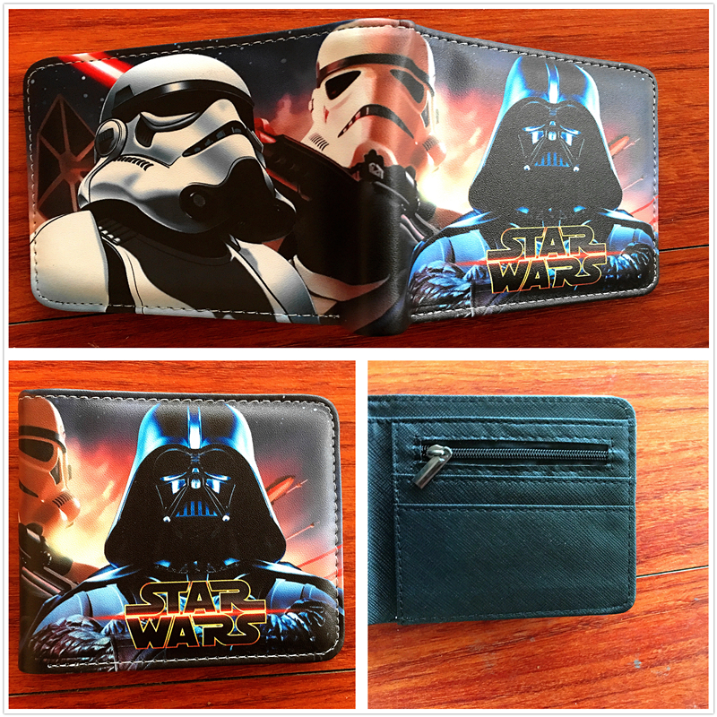 Men Teens Fashion Cool purse American Star Wars Wallet high quality Credit Card Holder Purse short PU leather wallets W684 moana maui high quality pu short wallet purse with button