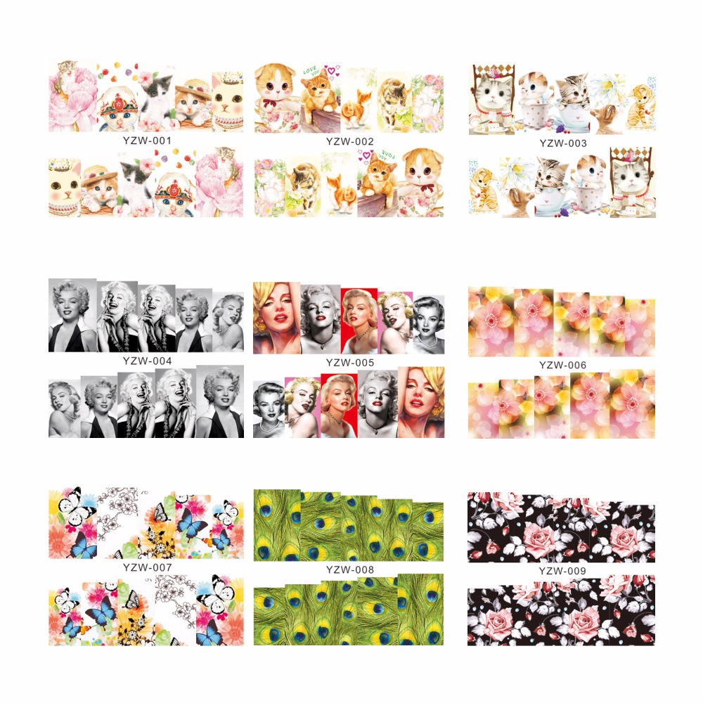 YZWLE 1 Sheet Flower Feather Designs Water Transfer Nail Art Stickers Decals For Nails Tips Decoration Accessories