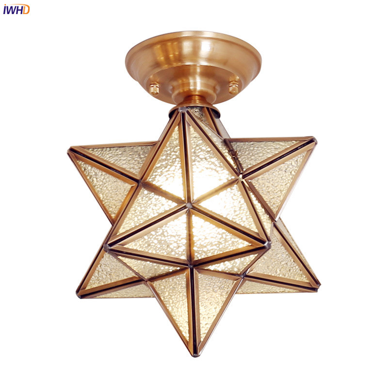 IWHD Star Shape Copper LED Ceiling Lights Fixtures Hallway Balcony Porch Copper Glass Vintage Ceiling Light Lamparas De Techo iwhd europe vintage glass led ceiling lights for kitchen hallway balcony copper ceiling lamp plafonnier led lamparas de techo