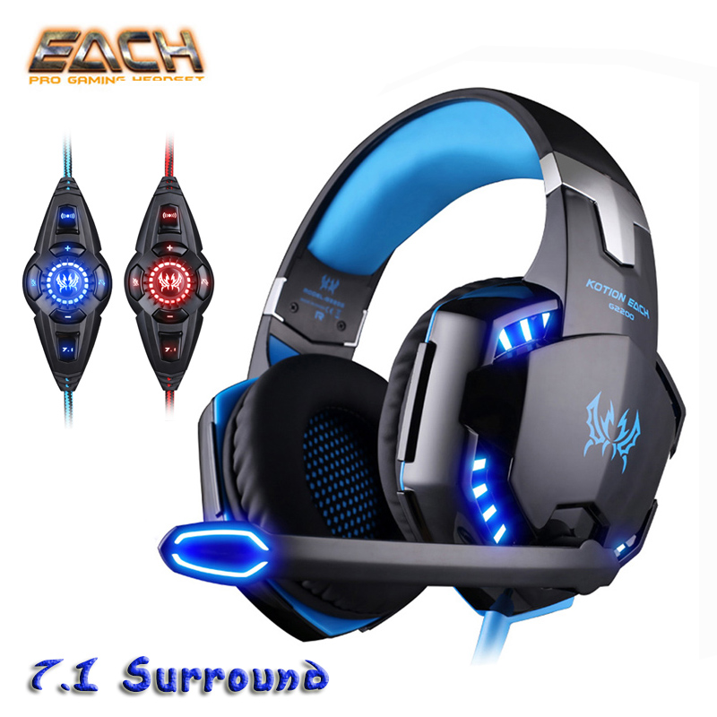 KOTION EACH G2200 USB 7.1 Surround Vibration Professional Gaming Headphone LED Games Microphone Headset Stereo Bass for PC Gamer