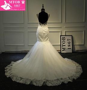 Image 4 - Champagne Mermaid Lace Wedding Dress 2019 Backless See Through Vestidos de novia Robe De Mariage MTOB1734