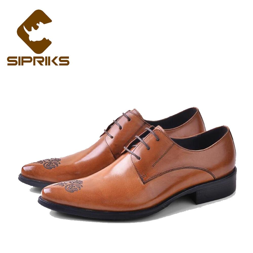 SIPRIKS luxe hommes pleine fleur en cuir chaussures tan cuir robe chaussures bout pointu derby chaussures d'affaires bureau travail appartements nouveau - 3