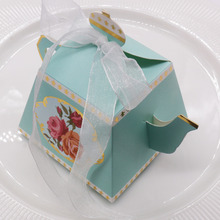 50 pcs/lot Teapot Candy Box With Ribbon Gift Cake Candies Packaging Boxes For Wedding Baby Shower Souvenirs Birthday decoration