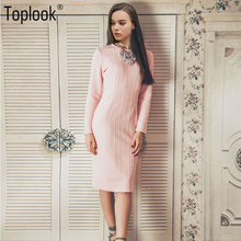 Toplook Pink Jacquard Vintage Womens Dress Winter Dresses Women 2017 Solid Long Sleeve Vestidos Knee Length Fitness Long Dresses(China)