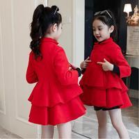 Children Autumn Winter Clothing Baby Girls Fashion Warm Patchwork Coat Thicken Woolen cloth Jacket Turn down Collar Outerwear