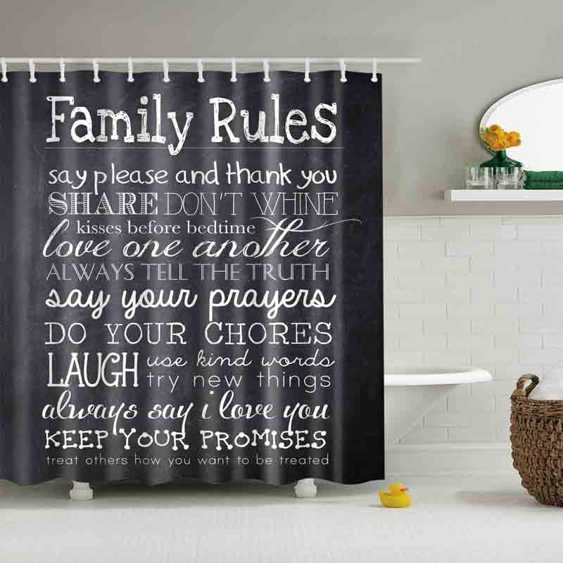Us 5 38 16 Off Vintage Family Rules Blackboard Letter Shower Curtains Custom Design Curtain Bathroom Waterproof Polyester Fabric In