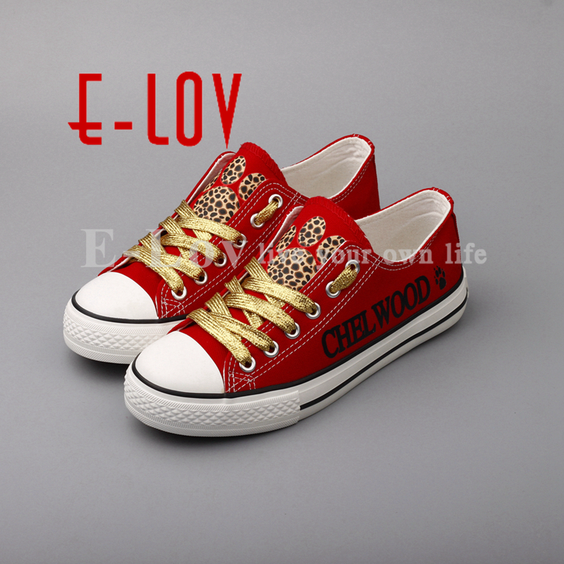 E-LOV 2018 High School Customization Canvas Shoes Chelwood Cheetahs Group Casual Shoes Golden Lace Red Flat Shoes Wholesale e lov women casual walking shoes graffiti aries horoscope canvas shoe low top flat oxford shoes for couples lovers