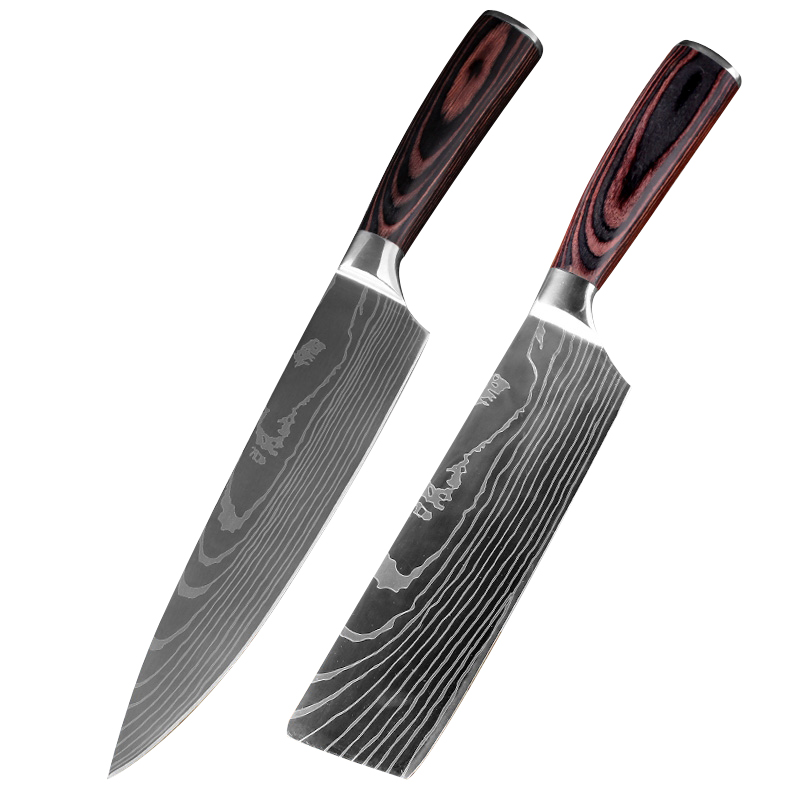 XYj 8inch Japanese Kitchen Knives Imitation Damascus Pattern Chef Knife 7inch Sharp Santoku Cleaver Slicing Utility Knives Tool